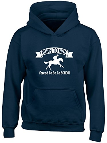 Shopagift Born to Ride Forced to go to School Horse Kids Childrens Hooded Top Hoodie Navy Blue