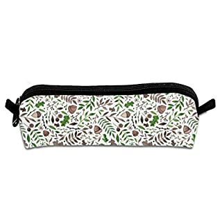 Acorns and AutumnFall Leaves Students Canvas Pencil Case Pen Bag Pouch Stationary Case Makeup Cosmetic Bag 21 X 5.5 X 5 cm