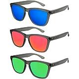 X-CRUZE® - Confezione da 3 occhiali da sole nerd polarizzati vintage stile retro unisex uomo donna occhiali da nerd - nero-trasparente opaco - Set J -