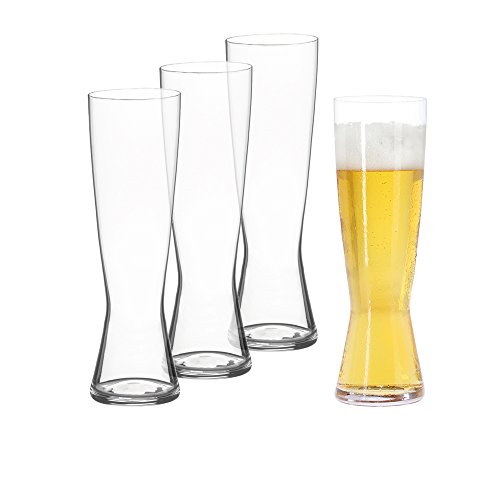 Pilsner Glas Set (Spiegelau & Nachtmann, 4-teiliges Pilsstangen-Set, Kristallglas, 425 ml, 4991970, Beer Classics)