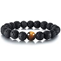 Tiger Eye Lava Stone Diffuser Bracelet Cat Eye Bracelet Genuine Nature Lava Bead Bracelet Durable Elastic Bracelet Yoga Bracelet Relax, Balance, Energy Reiki Bracelet for Men/Women