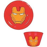 LotMart Kids con licencia plástico cuencos y platos niños niñas superhéroes personajes de dibujos animados y