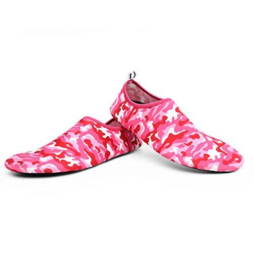 Cool&D Unisex Aquaschuhe Aqua Schuhe Atmungsaktiv Strandschuhe Schwimmschuhe Badeschuhe Wasserschuhe Surfschuhe für Damen Herren Kinder M Rot