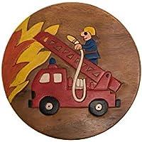 Preisvergleich für ROMBOL Handgefertigter Kinderhocker, Holz, Kinderhocker:Feuerwehrauto