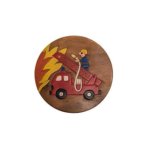 ROMBOL Handgefertigter Kinderhocker, Holz, Kinderhocker:Feuerwehrauto