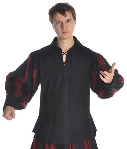 HEMAD Herren Landsknecht Hemd mit Kragen schwarz-dunkelrot L/XL