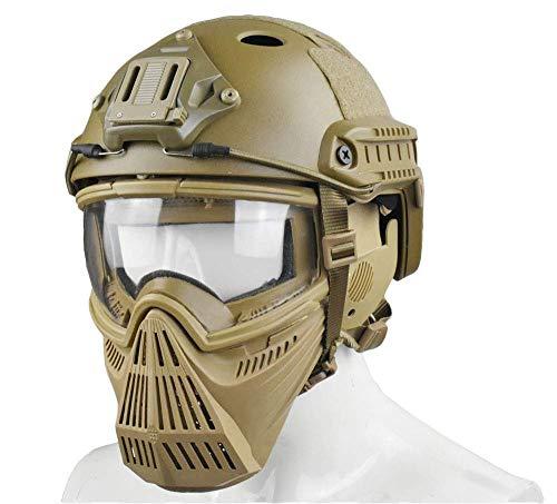 WLXW Tactical Airsoft Mask und Fast Paintball Helm, Vollgesichtsschutz Anti-Fog Clear Goggle Mask Gehörschutz Verstellbarer Gurt Jagd Schießen Schutzausrüstung,Tan,M