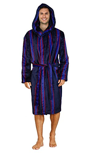 2ffdc772f18aff (M/L, Navy / Blue / Red (Hooded)) - Mens Supersoft Housecoat Fleece Bath  Robe Dressing Gown Gents Warm Winter Style