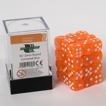 ADC Blackfire Entertainment 91708 Blackfire Würfel Box 12mm D6 36 Dice Set Transparent Orange - Adc-ersatz