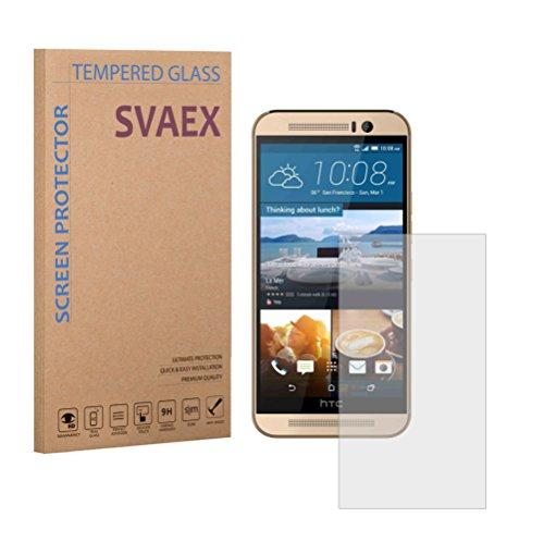 SVAEX HTC One M9 Premium Bildschirmschutz aus gehärtetem Glas - 9H gehärtetes Glas - 0.3mm dick - HD-Transparenz - 2.5D abgerundete Ecken - stoßfest - öl-/fettabweisende Beschichtung - berührungssensible Oberfläche - hochwertiges Glas - einfache Anbringung - blasenfreie Klebefläche aus Silikon - Japanisches Glas (Lg Pro 1 Ersatz-bildschirm)