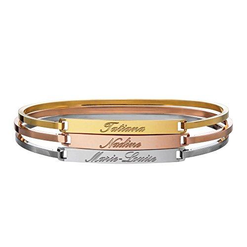 *3er Set Armreifen mit Gravur für Freundinnen – Personalisiert mit Namen – Gold, Silber und Rosegold – Hochwertiger Armreif aus Edelstahl als Freundschaftsgeschenk*
