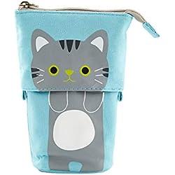 Sostenedor del bolso del lápiz telescópico bolsa lienzo Permanente Pluma linda del gato dibujos animados del lápiz/Plumas de escritorio Organizador Caja con cierre de cremallera - gris del gato