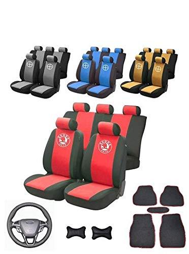 Set di coprisedili per Auto con Logo Skoda ROOMSTER + Rivestimenti per sedili Anteriori e Posteriori, coprivolante Automatico, Rivestimento in Pelle, 37-38 cm + Auto