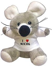 Llavero de ratoncito de peluche con Amo Nicol en la camiseta (nombre de pila/apellido/apodo)