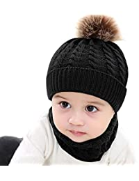 CATSAP Toddler Baby Girls Boys Winter Warm Crochet Knitted Beanie Cap+Scarf Warm Set for 0-2 Year Kids Photograph