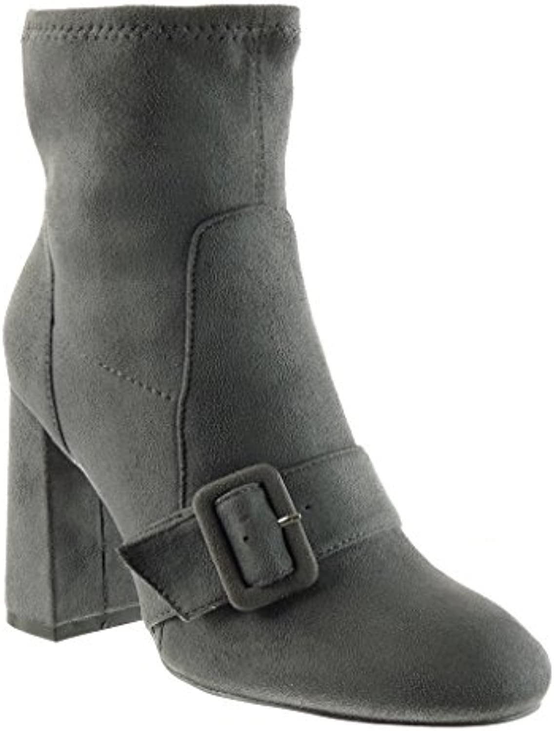 6e6eaeac22627c Angkorly - Women s Fashion Shoes buckle Ankle high boots thong - Booty -  cavalier - soft - thong - buckle Block high heel 9 CM B074KMMVTP Parent  a85a7f8