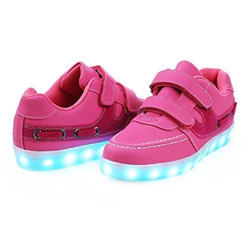 SAGUARO® Jungen Mädchen Turnschuhe USB Lade Flashing Schuhe Kinder LED leuchtende Schuhe mit farbigen Schnürsenkel Rosa-3 5vCqVWfiM