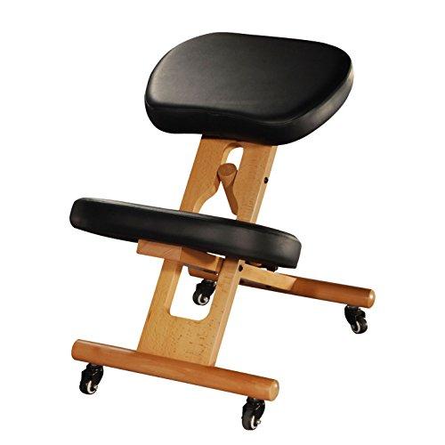 Wellness-stuhl Ergonomischer (Ergonomischer Kniehocker, verstellbarer Stuhl aus Buchenholz mit Polsterung, Sitz und Kniepolster mit Kunstleder-Bezug, schwarz, Therapeutenhocker, gepolstert, Bürostuhl, PU-Bezug)