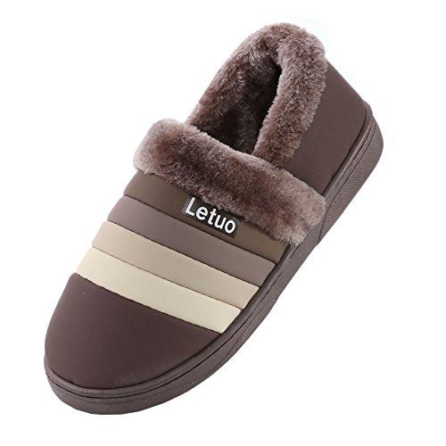 PU cuir bande imperméable pantoufles à domicile-Unisexe hiver chaud peluche chaussures bootie caf¨¦