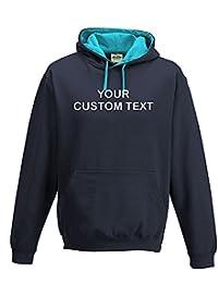 CUSTOM TEXT printed on personalised contrast varsity hoodie, make your own varsity hoodie Printed Contrast Hoodie Oxford Navy/Hawaiian Blue