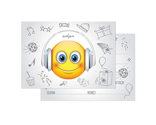 Friendly Fox Einladung DJ Smiley - 12er Set Einladungskarten Geburtstag Kinder Jungen Mädchen - Einladung Kindergeburtstag - Geburtstagskarte Emoji