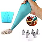 #3: Kurtzy Stainless Steel Icing Nozzles Cake Piping Bag With 1 Coupler For Decorating Cupcake Pastry Desserts Set Of 6 Assorted