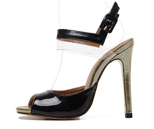 YCMDM Femmes Sandales à talons hauts poissons bouche artificielle PU noir unique chaussures Black