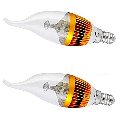 Top-Longer Candle Light, E14 3W LED Low Energy Comsumption Wall Lights Chandelier Candelabra LED Candle Light Bulb Flame Tip Chandelier Warm White 3000K(Pack of 2)