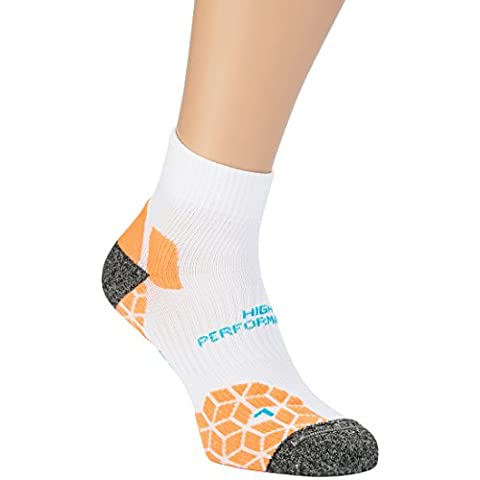 Ultrasport Meryl Skinlife / Lintoe - Calcetines de correr unisex, color blanco / naranja, talla 39-42