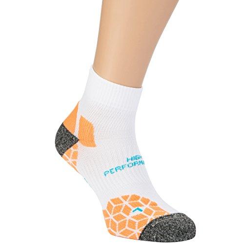 Ultrasport Meryl Skinlife / Lintoe - Calcetines de correr unisex, color blanco / naranja, talla 35-38