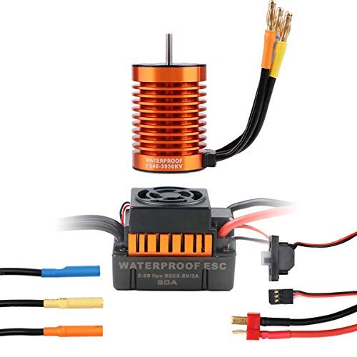 Crazepony-UK RC Brushless Motor 3930KV 10T Sensorless with 60A ESC Electronic Speed Controller Combo Waterproof for 1/10 RC Car Only 2S Lipo -