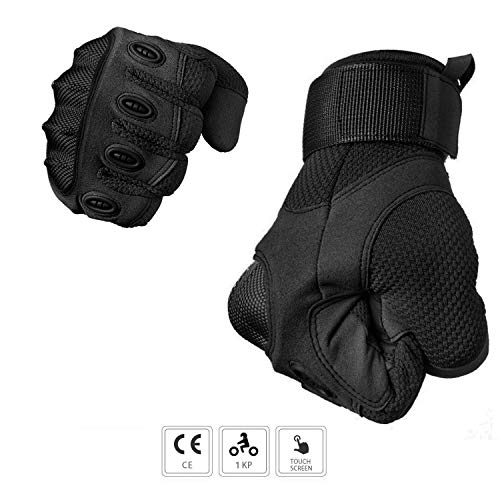 Guanti Moto, Guanti Motocross CE Touch Screen Full Finger per Ciclismo, Guida, Moto Cross e Trekking (L, Nero)