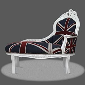 Casa-Padrino Baroque Kids chaise Union Jack/White - Baroque daybed furniture   6