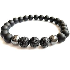 Armband elastisches Onyx matt Hämatit Lava 8mm Accessoire halbedelstein Bracelet