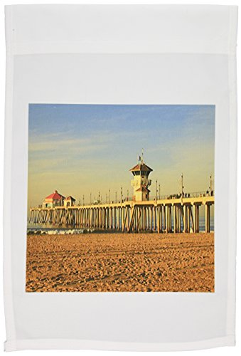 3dRose FL_26245_1 Huntington Beach Pier Gartenflagge, 30,5 x 45,7 cm - Huntington Rose