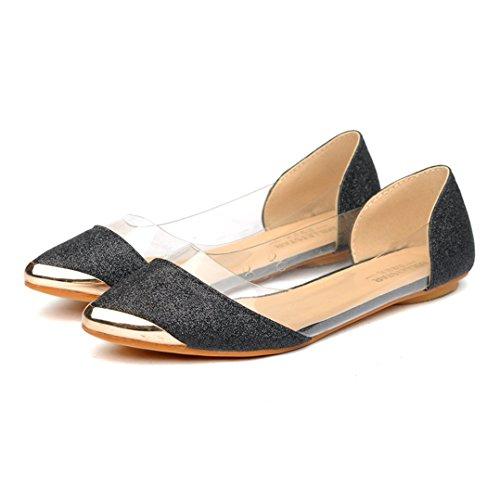 Damen Slipper Spitz Zehen Glitzer Flach Transparent Rutschhemmend Atmungsaktiv Metall Süß Elegant Schick Schuhe Schwarz