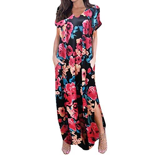 Sommerkleid Frauen Casual Ärmel V-Ausschnitt Drucken Maxi Tank Langes Kleid ()