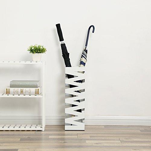 comprare on line SONGMICS Portaombrelli Porta ombrelli 49 cm Bianco in ferro quadro Con Gancini e Vaschetta Scolapioggia LUC16W prezzo