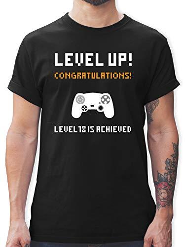 Geburtstag - 18. Geburtstag - Gamer Level 18 - L - Schwarz - L190 - Herren T-Shirt und Männer Tshirt -