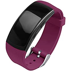 OenFoto Compatible Samsung Gear Fit2 Pro Correa, Fit 2 Pulsera Deportiva Silicona Suave Reemplazo Sport Band para Samsung Gear Fit 2 SM-R360 Smart Watch -Vino Rojo