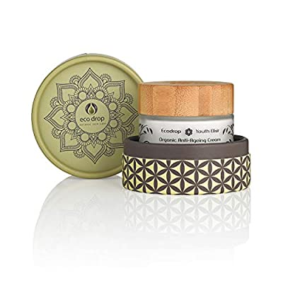 Ecodrop Organic Anti Ageing Cream | Advanced Daily Facial Wrinkle Treatment Cream For Women & Men | All Natural | With Hyaluronic Acid, Retinol & Argan Oil | Vegan | Eco Packaging