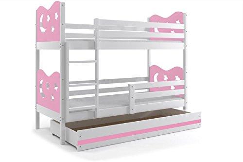 Letto a castello per bambini MAX 190x80 telaio bianco/rosa stelle