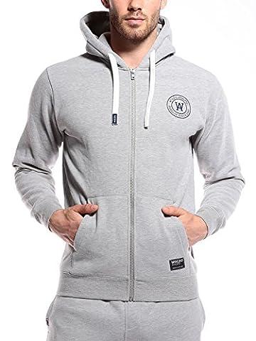 WOLDO Athletic Herren Sweatjacke mit Kapuze Hoodie Kapuzenpullover Pullover Sweatshirt Slim Fit (L, Gillies / grau)