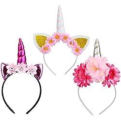 Diadema Unicornio,Unicornio Cuerno Diadema con Flores Artificiales Accesorio de Pelo para Fiesta de Navidad de Cumpleaños Regalos para Niños