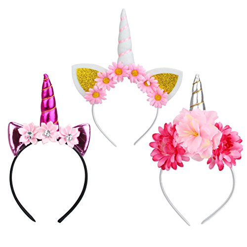 mit Blumen Halloween Hut Disguise Stirnband Filz Horn Ohren Cute Unicorn Einhorn für Cosplay Kostüm (Halloween-stirnbänder)