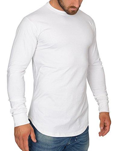MMC Herren Oversize Longsleeve - Basic Sweatshirt Langarm Shirt (L, Weiß)