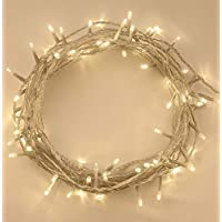 ANSIO 100 LED Warm White Tree Indoor and Outdoor use Christmas String Memory Function, Mains Powered Fairy Lights 10m/33ft Lit Length Clear Cable