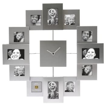 PT Photo Frame Clock Family Time Brushed, Aluminium Silver, Large Idea