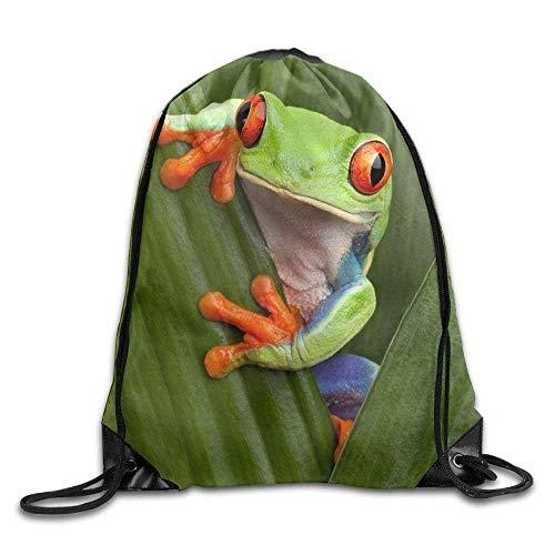 gthytjhv Borsa da trasporto Unisex Happy Tree Frog Print Drawstring Backpack Rucksack Shoulder Bags Gym Bag Sport Bag Lightweight Unique 16.9x14.2 (Dollar Rucksäcke Tree)