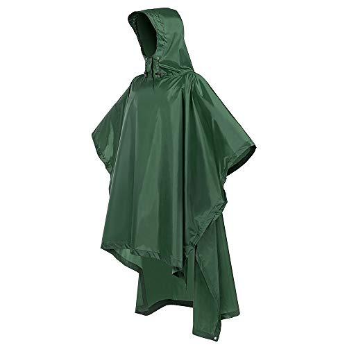 Terra Hiker Regenponcho, Wasserdicht Regencape mit Kapuze, Fahrradponcho für Herren und Damen, 3-in-1 Multifunktionale Regenbekleidung zum Camping Wandern (Grün)